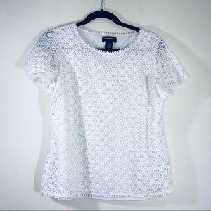 Liz Claiborne Crochet Lace Overlay Blouse - #1389